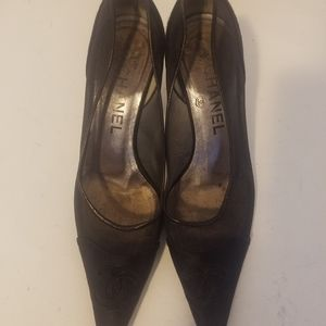 authentic chanel cc logo satin mesh heels 36